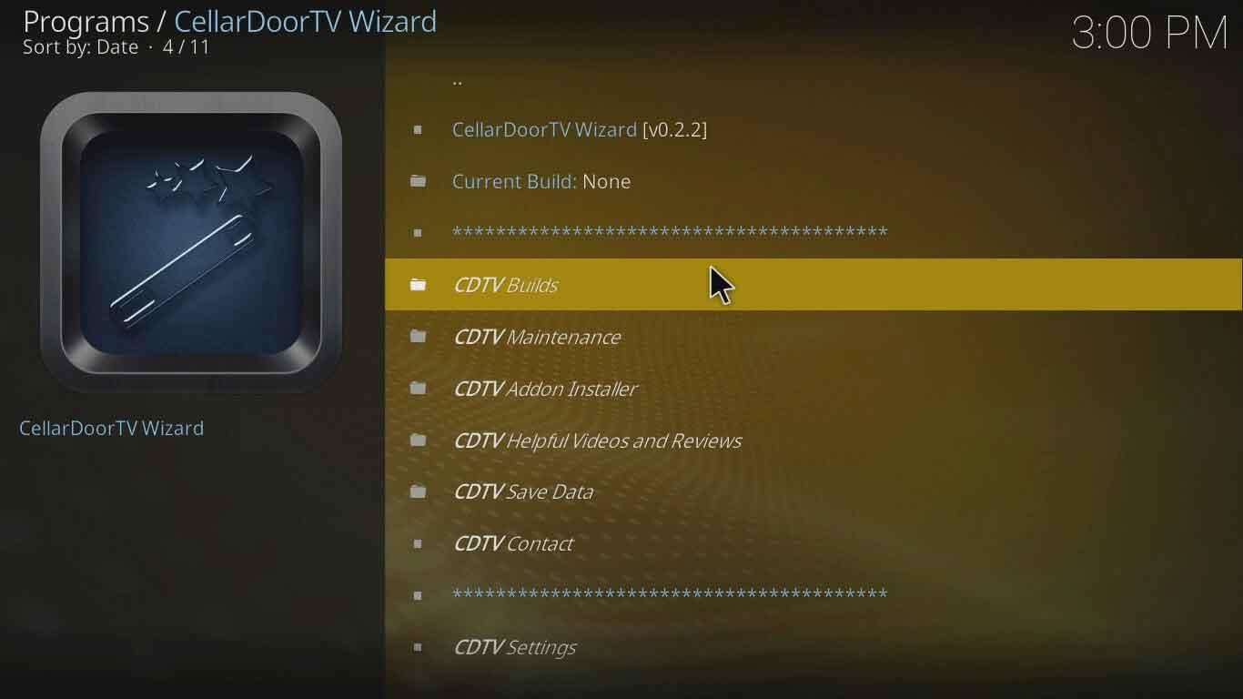 Konfigurasi kodi Cellardoor TV Wizard