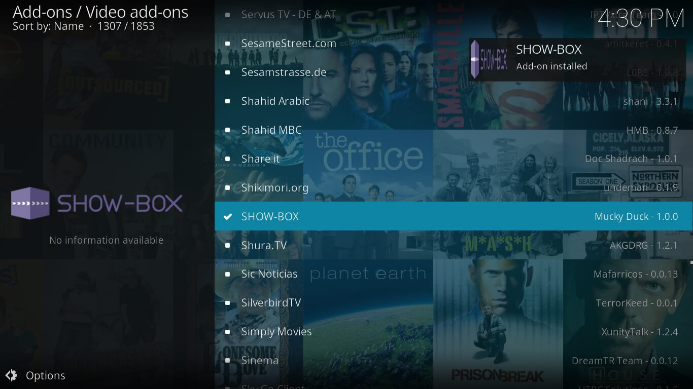 showbox video konfiguráció a Kodi-n